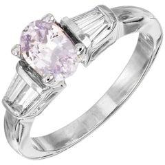 GIA Certified .92 Carat Purple Sapphire Diamond White Gold Engagement Ring