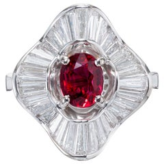 GIA Certified .92 Carat Ruby Diamond White Gold Ballerina Cocktail Ring
