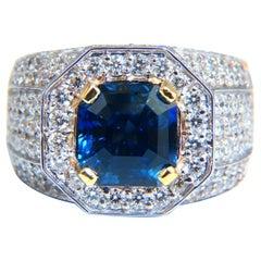 GIA Certified 9.24ct Natural Asscher Cut No Heat Sapphire Men's Unisex Ring 14kt