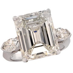 GIA Certified 9.29 Carat Emerald Cut Engagement Ring