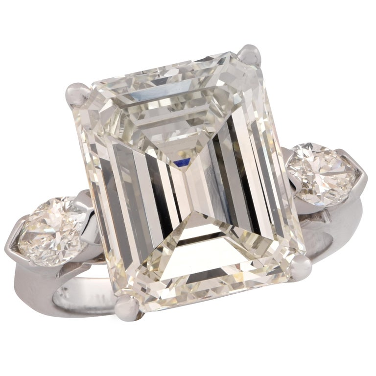 GIA Certified 9.29 Carat Emerald Cut Engagement Ring For Sale