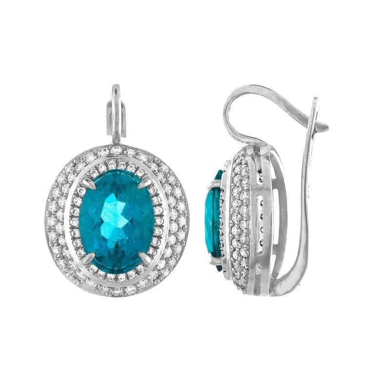 GIA Certified 9.31 Carat Greenish Blue Apatite Diamond Gold Earrings