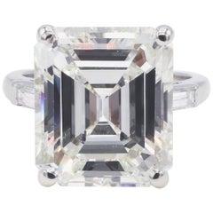 GIA Certified 9.35 Carat Emerald Cut Platinum Diamond Engagement Ring