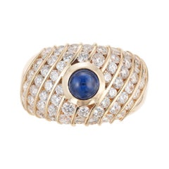 GIA Certified .94 Carat Sapphire Diamond Gold Dome Cocktail Ring