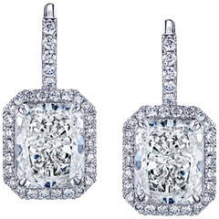 GIA Certified 9.40 Carat Radiant Cut Diamond Dangle Earrings