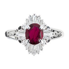GIA Certified .95 Carat Ruby Diamond Halo Platinum Engagement Ring