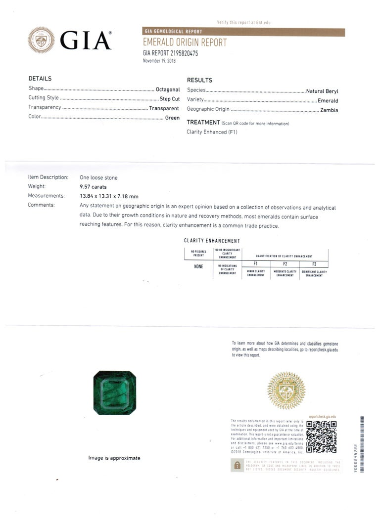 GIA Certified 9.57 Minor Emerald Diamond Triple Halo Gold Cocktail Fashion Ring For Sale 4