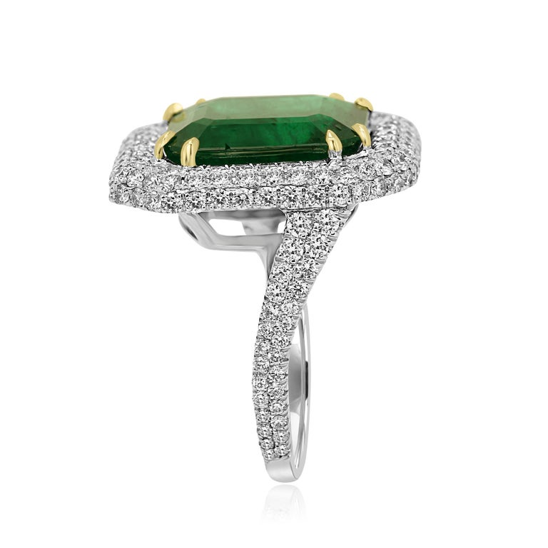 Emerald Cut GIA Certified 9.57 Minor Emerald Diamond Triple Halo Gold Cocktail Fashion Ring For Sale