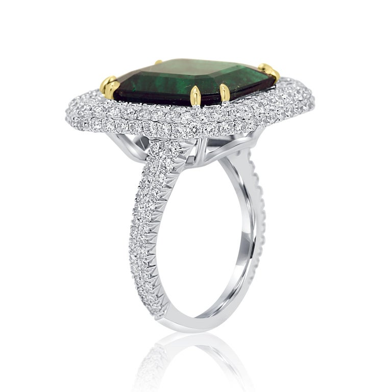 GIA Certified 9.57 Minor Emerald Diamond Triple Halo Gold Cocktail Fashion Ring In New Condition For Sale In NEW YORK, NY