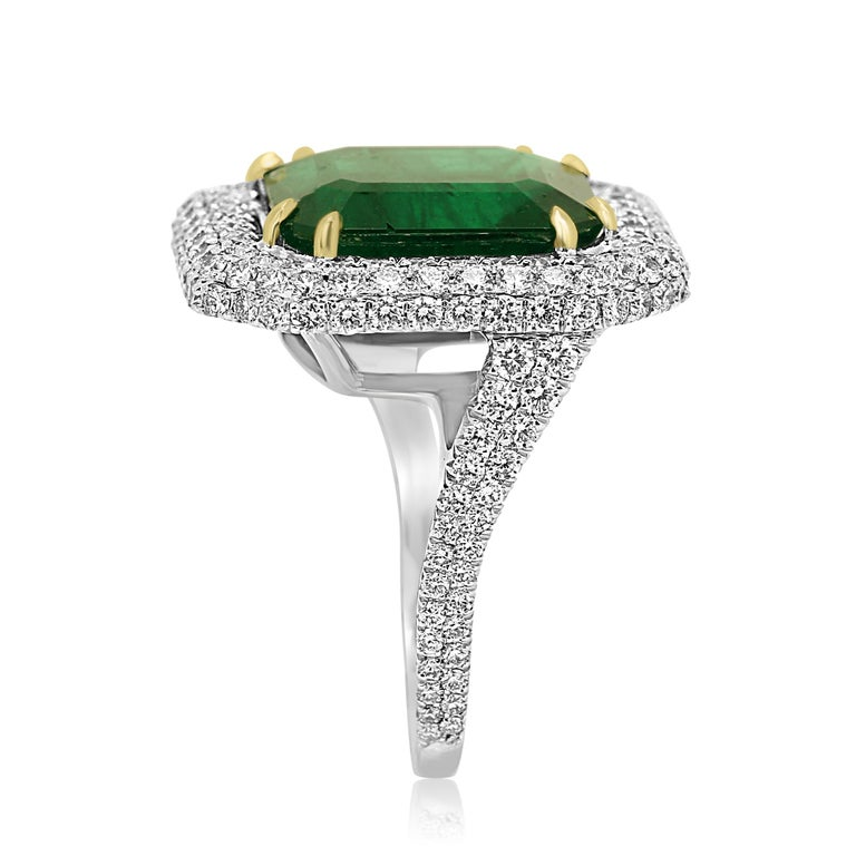 Women's or Men's GIA Certified 9.57 Minor Emerald Diamond Triple Halo Gold Cocktail Fashion Ring For Sale