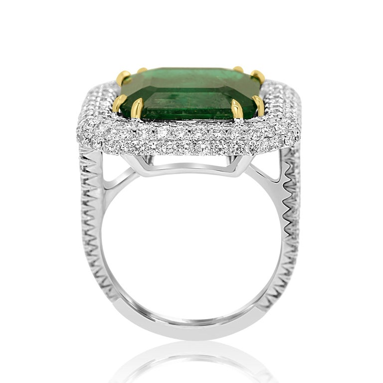 GIA Certified 9.57 Minor Emerald Diamond Triple Halo Gold Cocktail Fashion Ring For Sale 1