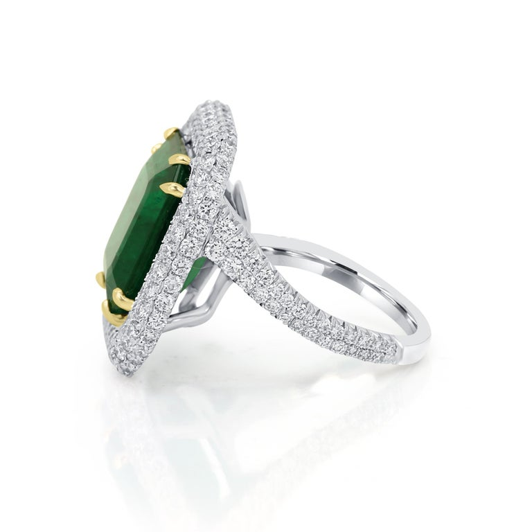 GIA Certified 9.57 Minor Emerald Diamond Triple Halo Gold Cocktail Fashion Ring For Sale 2