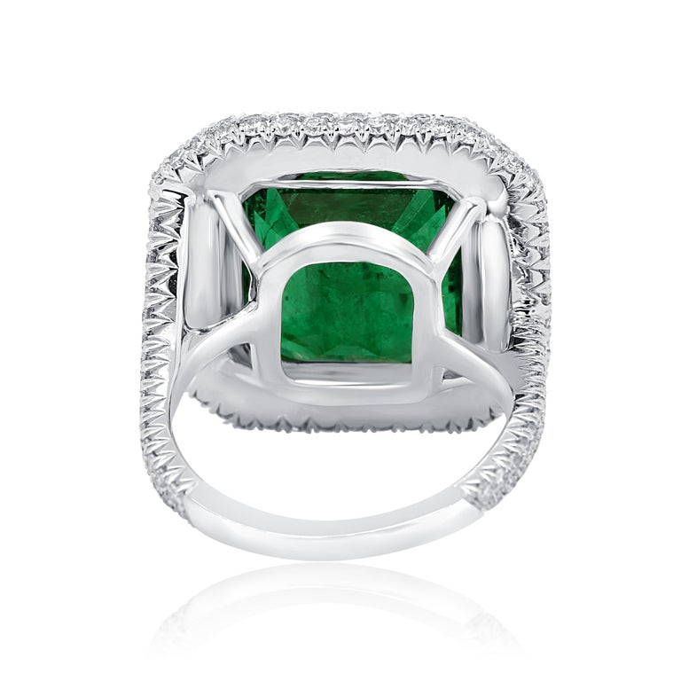 GIA Certified 9.57 Minor Emerald Diamond Triple Halo Gold Cocktail Fashion Ring For Sale 3