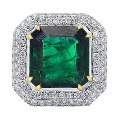 GIA Certified 9.57 Minor Emerald Diamond Triple Halo Gold Cocktail Fashion Ring