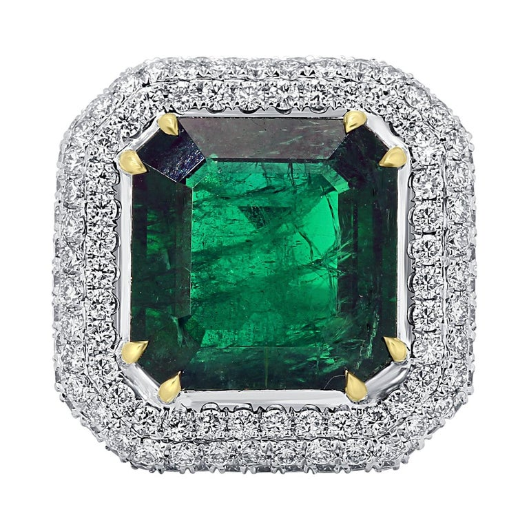 GIA Certified 9.57 Minor Emerald Diamond Triple Halo Gold Cocktail Fashion Ring For Sale