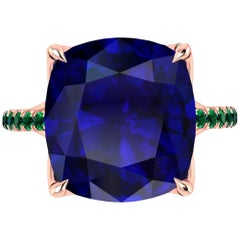 GIA Certified 9.61 Carat Tanzanite Cushion Cut Emeralds 18 Karat Rose Gold Ring