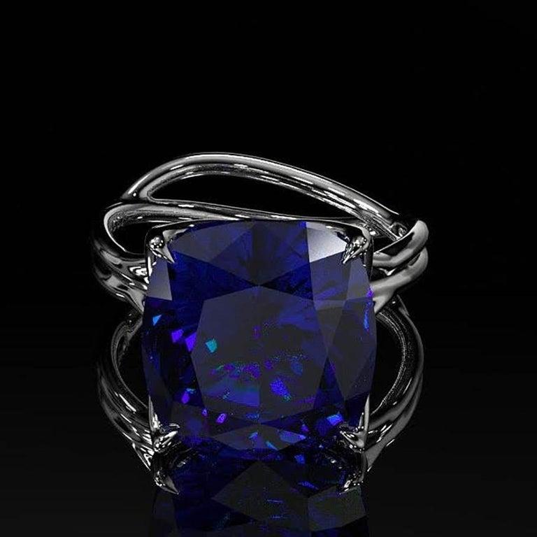 GIA Certified 9.23 carat Tanzanite Cushion Cut in 18 Karat gold cocktail ring For Sale 7