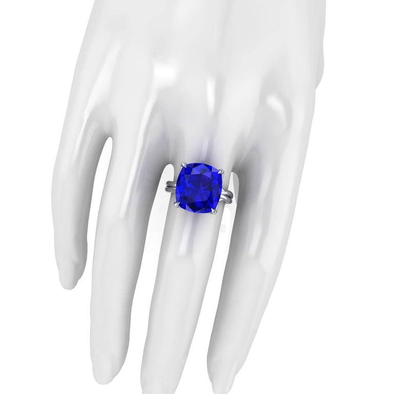 GIA Certified 9.23 carat Tanzanite Cushion Cut in 18 Karat gold cocktail ring For Sale 2