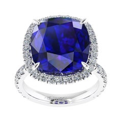 GIA Certified 9.61 Carat Tanzanite Cushion Diamond Halo 18 Karat Gold Ring