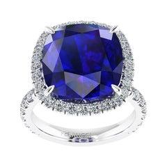 GIA Certified 9.23 Carat Tanzanite Cushion Diamond Halo 18 Karat Gold Ring