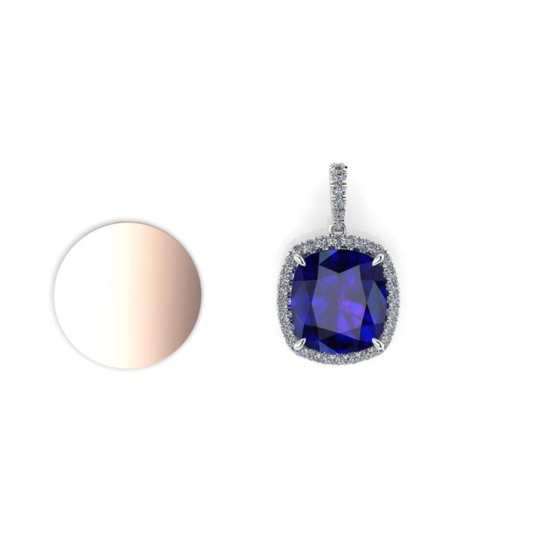 GIA Certified 9.61 Carat Tanzanite Cushion Diamond Halo 18 Karat Gold Pendant In New Condition For Sale In New York, NY