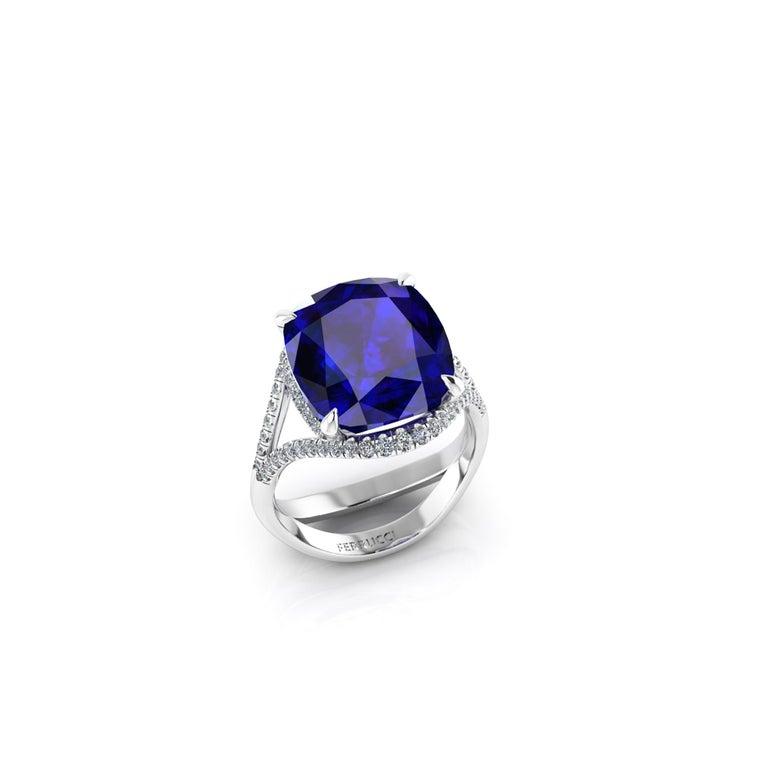 Modern GIA Certified 9.23 Carat Cushion Tanzanite Diamonds Platinum 950 Cocktail Ring For Sale