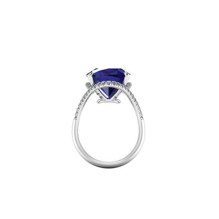 Cushion Cut GIA Certified 9.23 Carat Cushion Tanzanite Diamonds Platinum 950 Cocktail Ring For Sale
