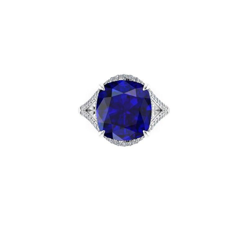 Women's GIA Certified 9.23 Carat Cushion Tanzanite Diamonds Platinum 950 Cocktail Ring For Sale