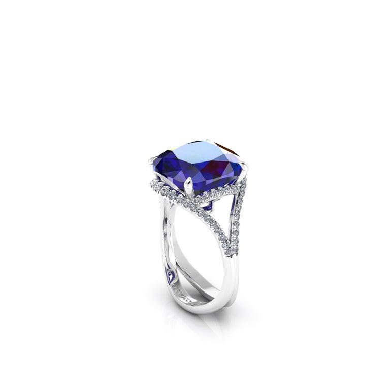 GIA Certified 9.23 Carat Cushion Tanzanite Diamonds Platinum 950 Cocktail Ring For Sale 1