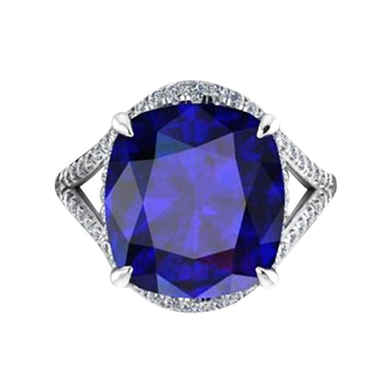 GIA Certified 9.23 Carat Cushion Tanzanite Diamonds Platinum 950 Cocktail Ring
