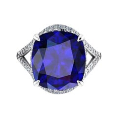 GIA Certified 9.62 Carat Cushion Tanzanite Diamonds Platinum 950 Cocktail Ring