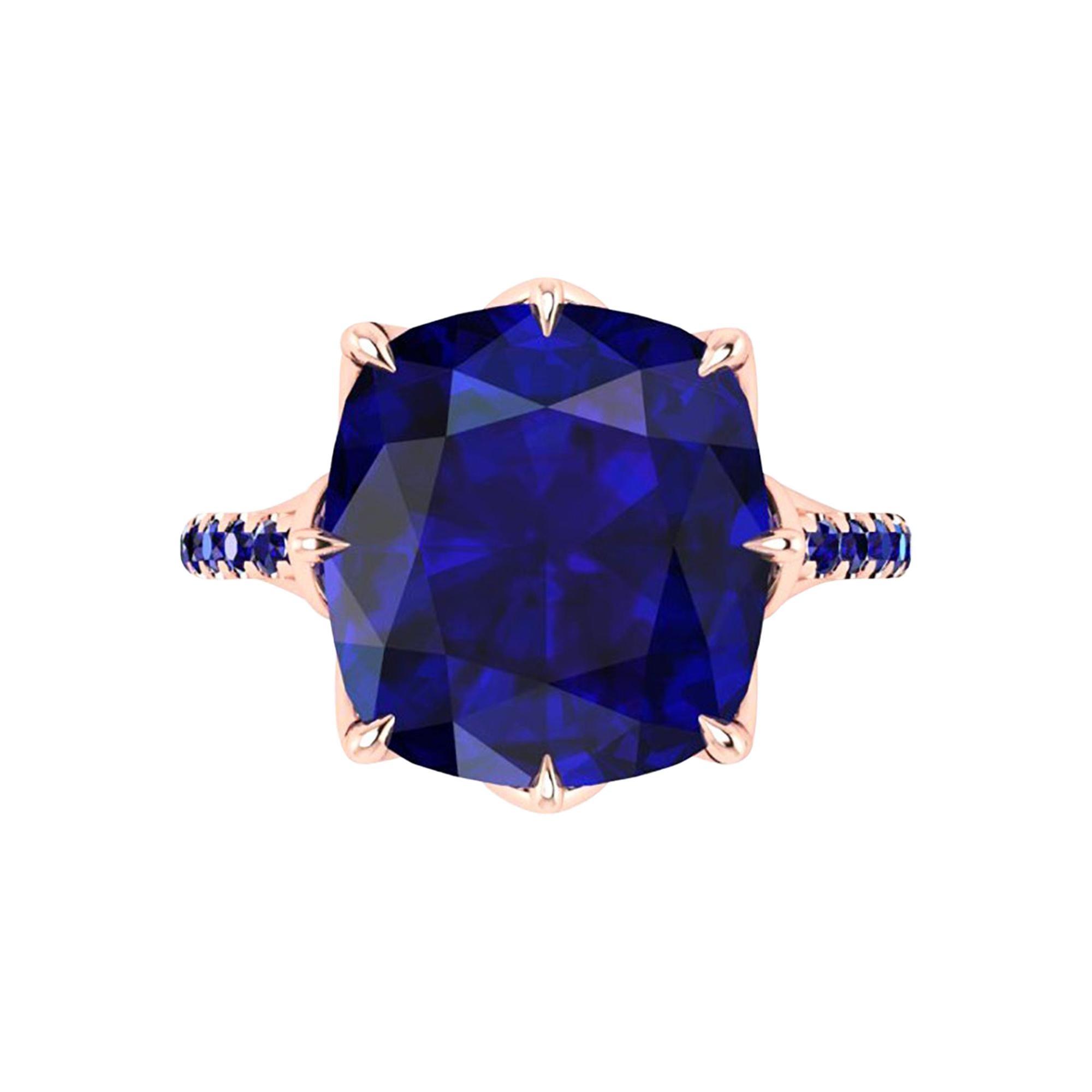 GIA Certified 9.23 carat Cushion Cut Tanzanite 18 Karat Rose Gold Ring