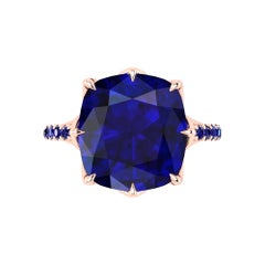 GIA Certified 9.62 Cushion Cut Tanzanite 18 Karat Rose Gold Ring