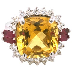 GIA Certified 9.68 Karat Cushion Cut Golden Beryl Diamond Ruby Cocktail Ring