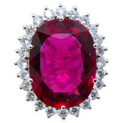 Gia Certified 9.76 Carat Oval Red Tourmaline Diamond Engagement Cocktail Ring