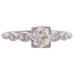 GIA Certified .98 Carat Art Deco Diamond Platinum Engagement Ring