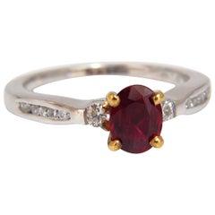 GIA Certified .98 Carat Natural Ruby Ring 14 Karat