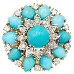 GIA Certified 9.81 Carat Persian Turquoise Diamond Gold Cocktail Cluster Ring