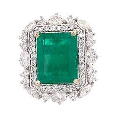 GIA Certified 9.83 Carat Colombian Natural Emerald 18 Karat White Gold Ring
