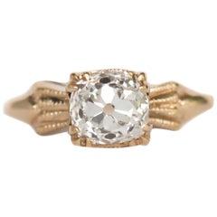 GIA Certified .99 Carat Diamond Yellow Gold Engagement Ring