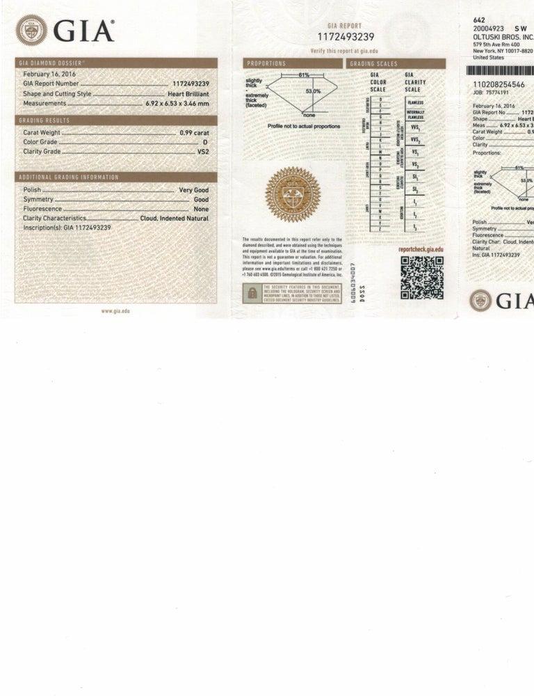 Contemporary GIA Certified .99 Carat Heart Shaped Diamond Platinum Pendant For Sale