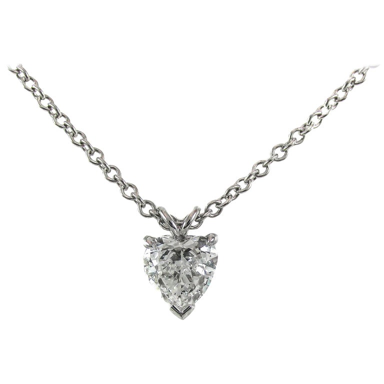 GIA Certified .99 Carat Heart Shaped Diamond Platinum Pendant For Sale