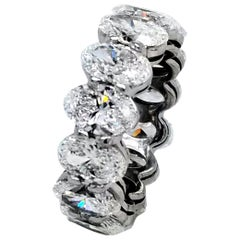 GIA Certified 9.93 Carat '3/4s' Oval Platinum Diamond Eternity Ring