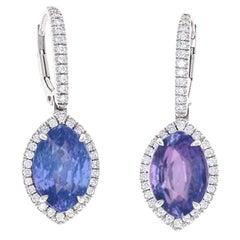 GIA Certified, 9.96 Carat No Heat Color-Change Sapphire Drop Earrings