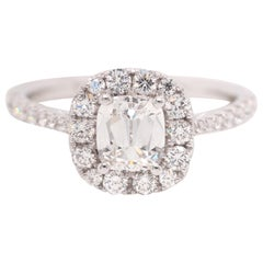 GIA Certified A. Jaffe 0.85 Carat Cushion Diamond Engagement Ring