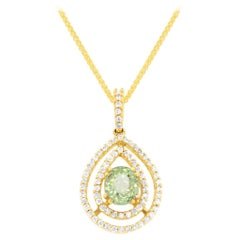 GIA Certified Alexandrite Oval Natural Color Change Double Diamond Halo Pendant