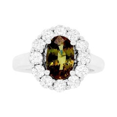GIA Certified Alexandrite Oval Natural Color Changing Flower Engagement Ring