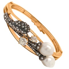 GIA Certified Antique Natural Pearl and Diamond Bangle
