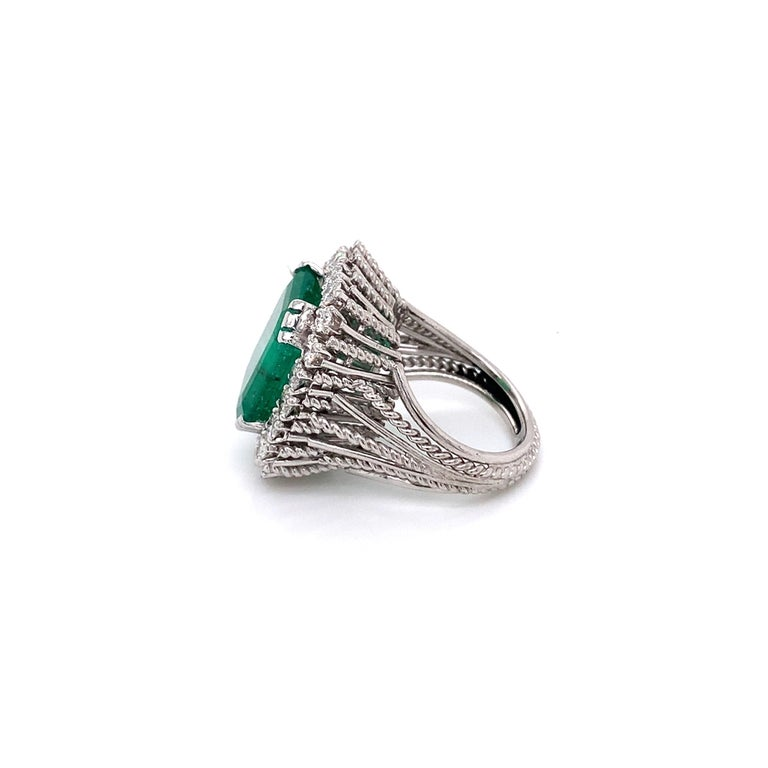 Antique Style Diamond & Emerald Cocktail Ring made with real/natural diamonds and GIA Certified Emerald. Emerald Total Weight: 7.95 carats. Diamond Total Weight: 1.60 carats. Diamond Color: G-H. Diamond Clarity: VS. Diamond Quantity: 20 brilliant