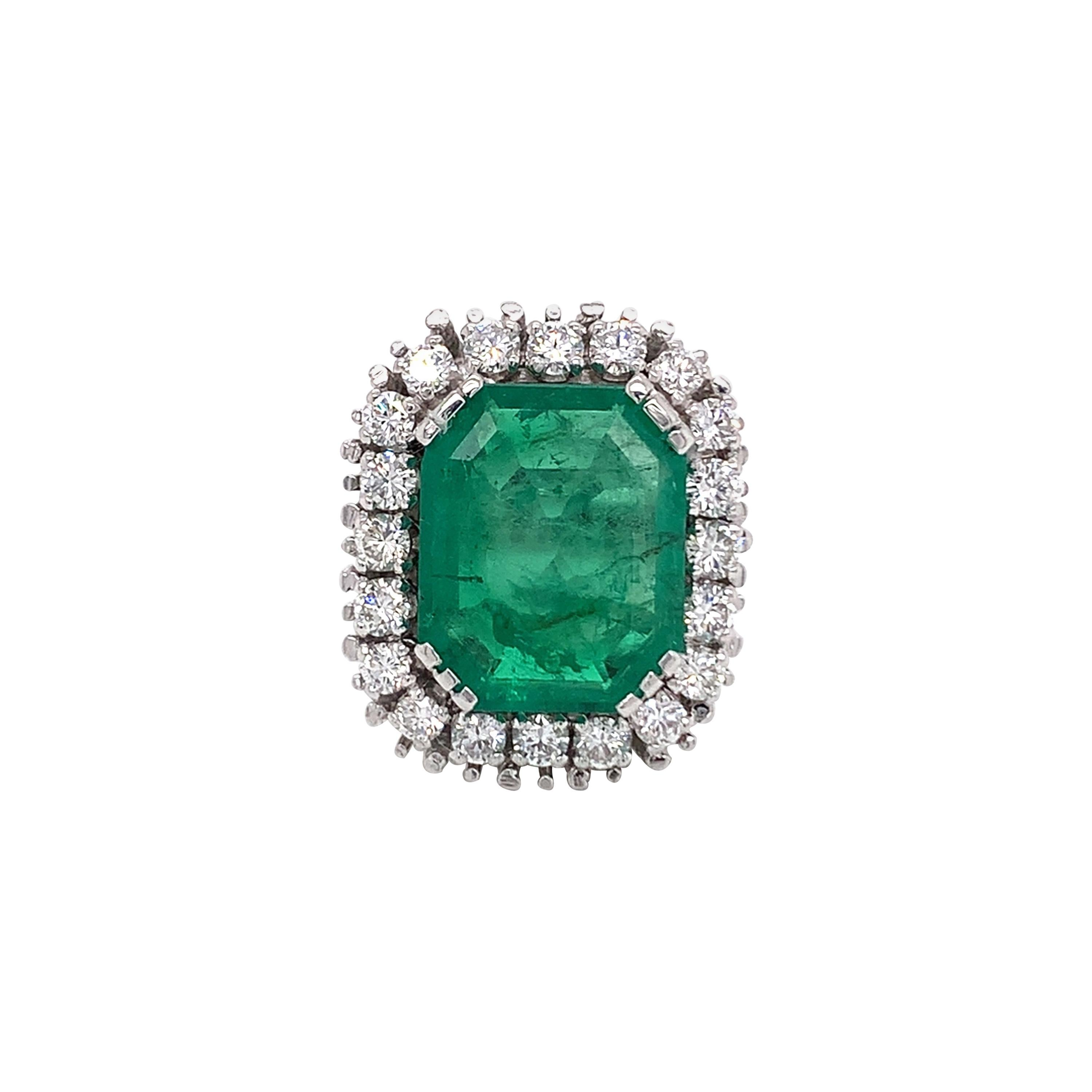 GIA Certified Antique Style Diamond & Emerald Cocktail Ring